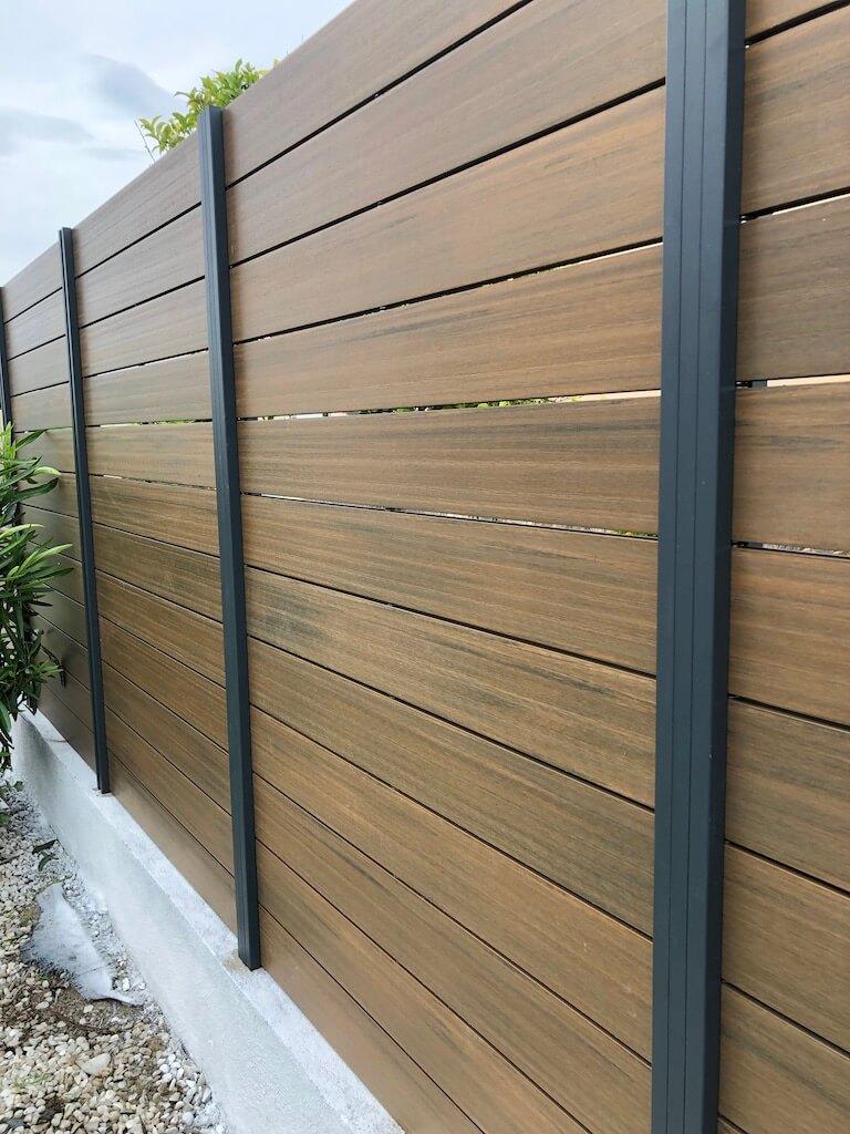 perfil aluminio valla madera sintética